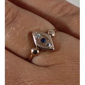 c1930 Art Deco European Petite Vintage 14k Gold Sapphire & White Zircon Ring