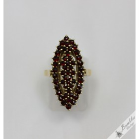 c1960 Vintage Rose Cut Bohemian Garnet Diamond Cluster Ring size 0, 7 - 7 1/4