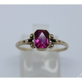 c1920 Vintage Art Deco Bohemian 6k Gold Ring Simulated Ruby Antique