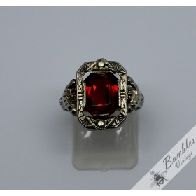 c1930 Art Deco Bohemian Czech Silver Ring Simulated Garnet sz P1/2, 8