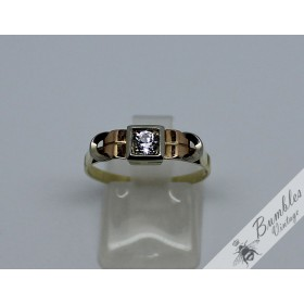 c1930 Vintage Art Deco 14k Rose, Yellow & White Gold Ring White Sapphire sz P, 7 3/4