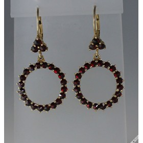 c1970 Vintage Bohemian Garnet Dangle Drop Hoop Lever Earrings
