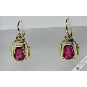 c1930 Vintage Art Deco 14k Gold sim. Ruby Bohemian Lever Earrings