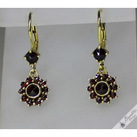 c1970s Vintage Bohemian Garnet Dangle Drop Flower Lever Earrings