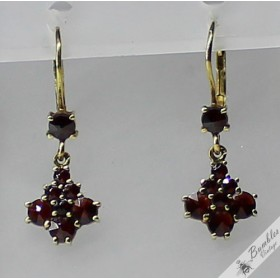 c1950 14k Gold Vintage Bohemian Garnet European Earrings