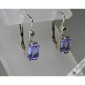 c1960 Bohemian Art Deco Sterling Silver Alexandrite Lever Earrings