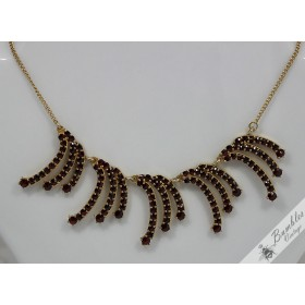 c1960s Unique Vintage Bohemian Garnet Rose Cut Necklace