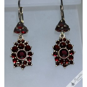 Vintage Bohemian Garnet European Dangle Drop Lever Earrings c1960s