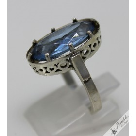 Unique Vintage Art Deco Aquamarine Bohemian European Silver Ring c1940s
