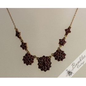 Vintage Classic Rose Cut Bohemian Garnet European Gilt Flower Necklace