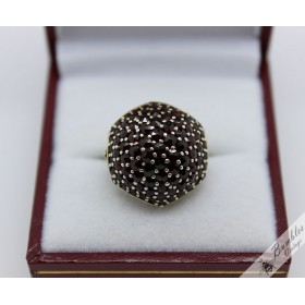 Unique Vintage European Bohemian Garnet Silver Mushroom Statement Ring