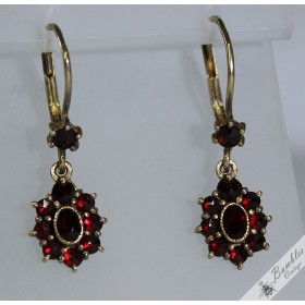 Vintage Bohemian Garnet Gilt Dangle Drop Earrings c1960s