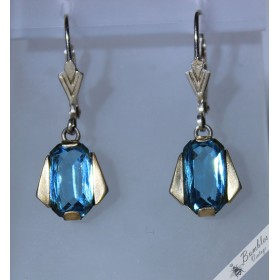 Vintage Art Deco Blue Bohemian Silver Lever Earrings c1960s