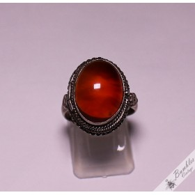 Vintage Art Deco Carnelian Sterling Silver Poison Ring