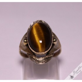 Vintage Retro Tiger Eye Silver Bohemian European Ring c1970s