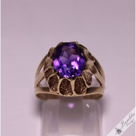 9ct Solid Gold Amethyst High Set Leaf Cocktail Ring M.5, 6.5