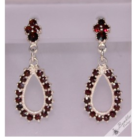 Vintage Rose Cut Bohemian Garnet Silver Dangle Drop Earrings c1970s