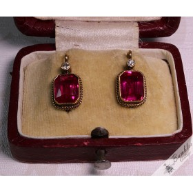 c1930 Art Deco Antique Ruby Diamond Earrings 14k Gold European