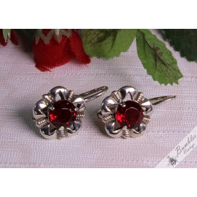 Vintage Bohemian European Silver Floral Lever Earrings c1960