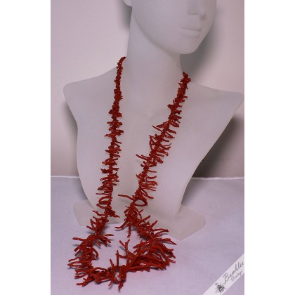 Vintage Undyed Natural Salmon Red Coral Branch Necklace