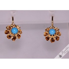 Antique Austro-Hungarian Empire 14k Gold Turquoise Lever Earrings