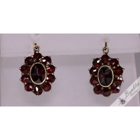 Vintage 8k Gold Eurpean Bohemian Garnet Floral Lever Earrings