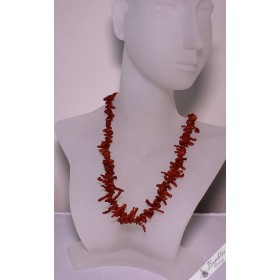 Vintage Natural Undyed Red Coral Graduated Branch Choker Necklace
