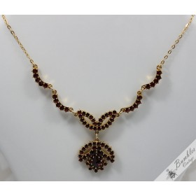 Vintage Bohemian Garnet Flower Gilt Necklace
