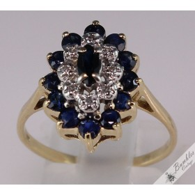 3 Tier Sapphire & Diamond Cluster 9k Yellow Gold Ring