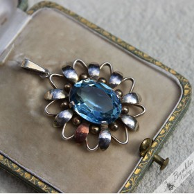 Beautiful Vintage Bohemian Floral Blue Glass Silver Pendant Retro Czechoslovakia