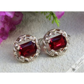 Large Vintage Bohemian Red Glass Silver Ornate European Lever Earrings