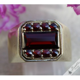 Men's Vintage Silver Gilt Bohemian Garnet Ring Art Deco