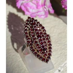 Huge Vintage Bohemian Garnet 3 Tier Silver Statement Ring size S 1/2, 9.25 c1960s