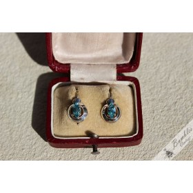 Vintage Art Deco Silver Blue Lever Earrings from Czechoslovakia