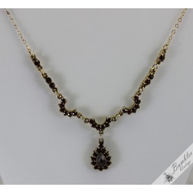 Elegant Vintage Bohemian Garnet Dangle Lavalier Gilt Necklace