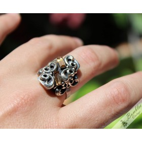 Unique Vintage Bohemian Silver Ornate Ring from Czechoslovakia