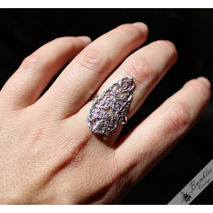 Vintage Bohemian Sterling Silver Filigree Cut Out Statement Ring