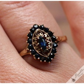 Vintage 9k Yellow Gold Blue Sapphire Ornate Crown Ring size P, 7.75
