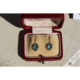 Vintage Art Deco Silver Gilt Blue Lever Earrings from Czechoslovakia