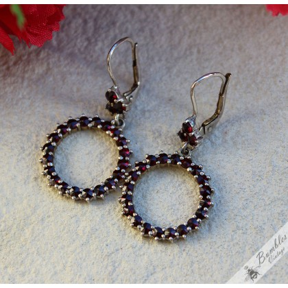 Vintage Bohemian Garnet Dangle Drop Hoop Lever Earrings Silver Gilt