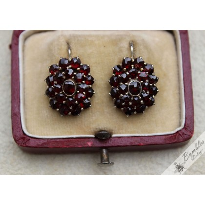 1940s Vintage Bohemian Garnet Floral Cluster Earrings