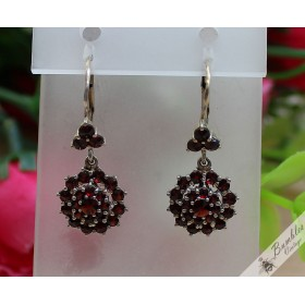 Vintage Bohemian Garnet Silver Dangle Drop Earrings