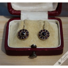 Vintage Bohemian Garnet Art Deco Silver Gilt Earrings