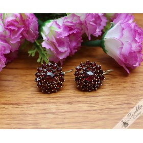 Art Deco Vintage Bohemian Garnet Flower Cluster Earrings c1930 800 Silver Gilt