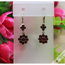 Vintage Bohemian Garnet Dangle Drop Silver Lever Earrings