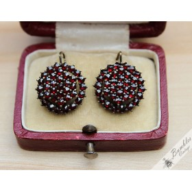 Vintage Bohemian Garnet Circle Cluster Statement Earrings 900 Silver