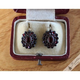 Antique Victorian Era Bohemian Garnet Earrings  with Sterling Silver Levers
