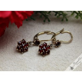 Vintage Bohemian Garnet Dangle Drop 900 Silver Gilt Earrings