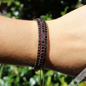 Antique Table Top Cut Bohemian Garnet Three Row Hinged Bracelet