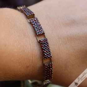 Vintage Bohemian Garnet Link Panel Three Row 900 Silver Gilt Bracelet